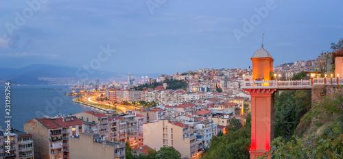 Izmir with Historic Elevator at Dusk