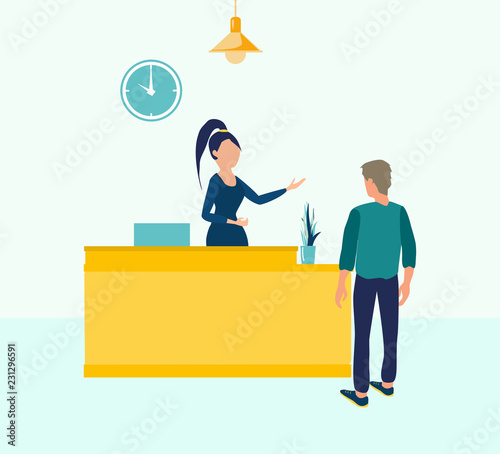 Customer At Reception Young Woman Receptionist Standing At Reception Desk Vector Illustration In Flat Cartoon Style Reception Service Business Reception Office Receptionist Hotel Buy This Stock Vector And Explore Similar Vectors