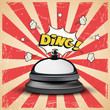 Realistic reception bell and Ding sign on striped comic book grunge background. Vector illustration.