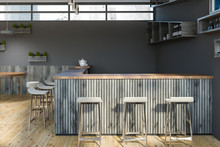Bar With Stools In Gray Cafe