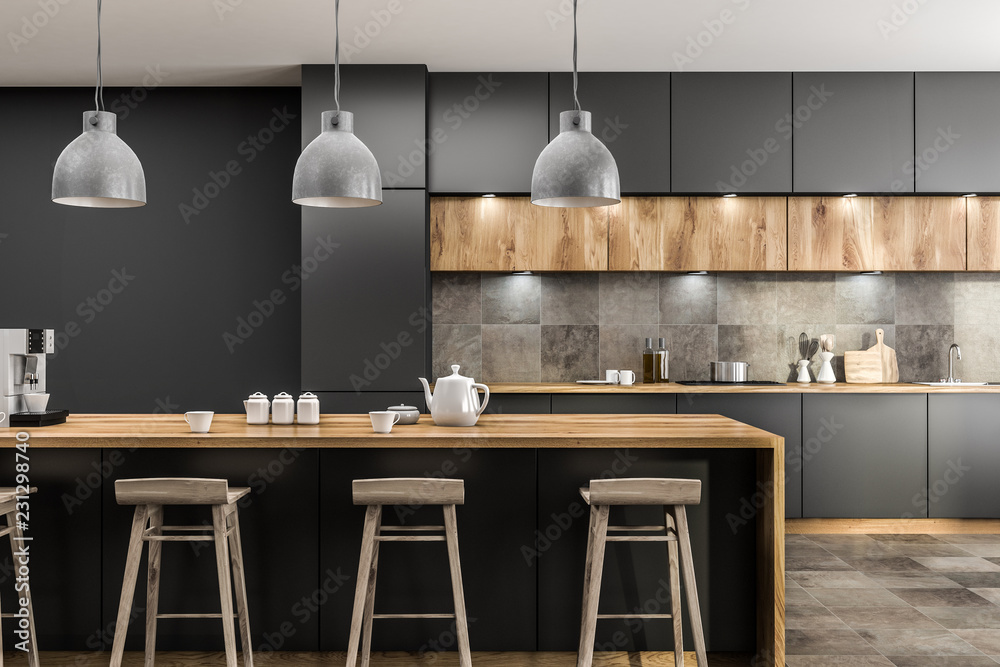 Fototapety, obrazy: Gray kitchen with bar close up