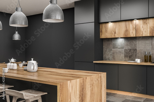 Fotografie, Tablou  Gray kitchen corner with bar close up