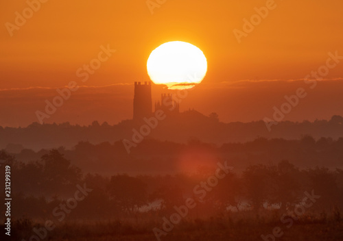 In de dag Zonsondergang Sunrise behind Ely Cathedral, 13th September 2018