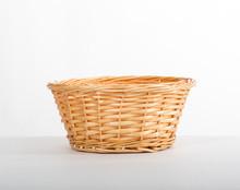 Empty Yellow Wicker Basket