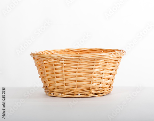 Fotografie, Obraz  Empty yellow wicker basket