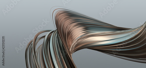 Poster Abstract wave Abstract 3d rendering of twisted lines. Modern background design, illustration of a futuristic shape