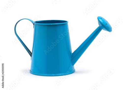 Fototapeta Blue watering can isolated on a white background. obraz