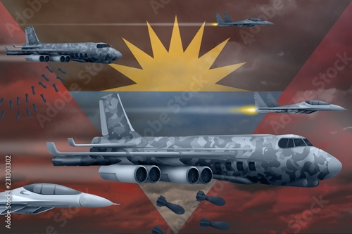 Papiers peints Avion, ballon Antigua and Barbuda air forces bombing strike concept. Antigua and Barbuda army air planes drop bombs on flag background. 3d Illustration