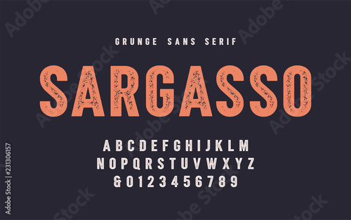 Obraz Sargasso grunge san serif vector font, alphabet, typeface - fototapety do salonu