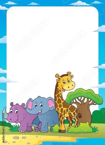 Foto op Aluminium Voor kinderen African nature theme frame 1