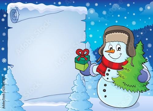 Staande foto Voor kinderen Christmas snowman subject parchment 2
