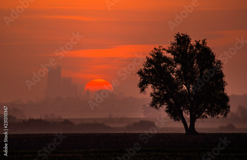 Deurstickers Ochtendgloren Sunrise over Ely, 25th September 2017