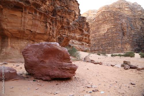 Fotobehang Midden Oosten Red stones in Wadi Rum desert, Hashemite Kingdom of Jordan
