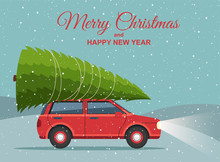 Merry Christmas And Happy New Year. Holiday Winter Snowy Landscape With Red Car And Christmas Tree On Top.