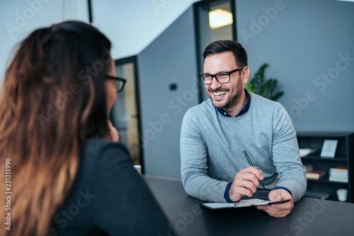 Photo Successful job interview.