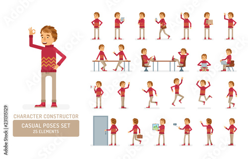 Fotografie, Obraz  Vector young adult man in sweater ready-to-use character casual poses set in flat style