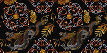 Embroidery Northern Dragons And Celtic Knots Seamless Pattern. Clothes, Textile Template. Fall Forest Art, Fairy Tale T-shirt Design