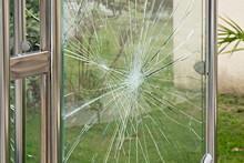 Broken Glass Of Bus Stop Shelter Vandalism Concept