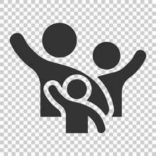 Family Greeting With Hand Up Icon In Flat Style. Person Gesture Vector Illustration On Isolated Background. People Leader Business Concept.