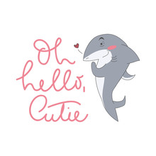 Cute Shark Illustration With L...