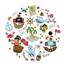 Pirate Cartoon Set. Big Set Of...