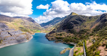 Aerial View Of The Snowdonia National Park Close To The Historic Dolbadarn Castle In Llanberis, Snowdonia - Wales
