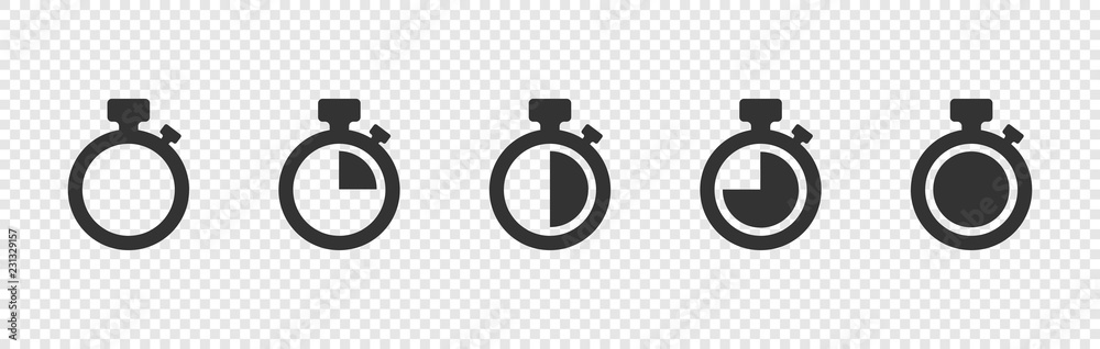Fototapety, obrazy: Set of Timer vector icons on transparent background. Countdown Timer vector icons
