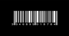 Realistic White Barcode Icon On Black Background. Bar Code Icon