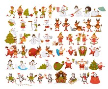Happy New Year Characters Resting At Beach, Santa And Rabbit