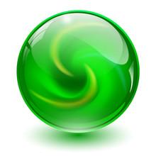 Green Glass Sphere, 3D Marble Ball,