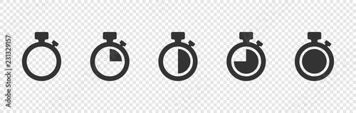 Fotografía  Set of Timer vector icons on transparent background