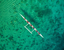 Aerial Shot Of Outrigger Canoe In Micronesia