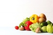 Set of different fresh vegetables on a wooden background. Diet, healthy food, veggie.