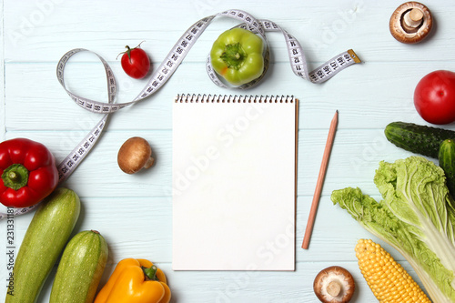 Incredible Fresh Vegetables Measuring Tape And Paper Notepad On Wooden Download Free Architecture Designs Scobabritishbridgeorg