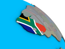 South Africa With Embedded National Flag On Simple Blue Political 3D Globe.