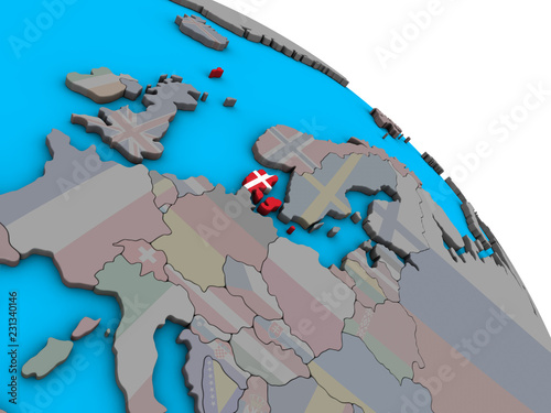 Wallpaper Mural Denmark with embedded national flag on simple blue political 3D globe
