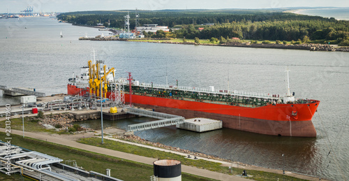 The oil tanker is moored at the petroleum product terminal in the port of Klaipeda.