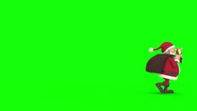 Seamless Looping Animation Of A Cartoon Santa Claus Walking With Gift Bag And A Bell On A Green Background From Screen Left To Right And Back. Side View. High Quality 3d Animation