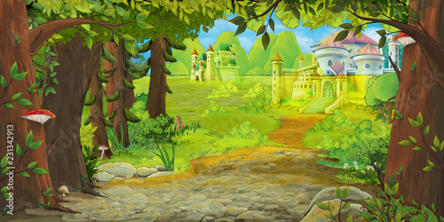 Cartoon nature scene with beautiful castle near the forest - illustration for children