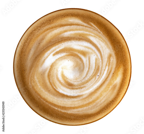 Hot coffee latte cappuccino spiral foam top view isolated on white background, c Fototapet