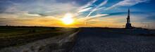 Panarama Rig On Sunset Background