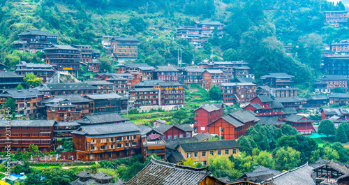 Photo  Miao village in Guizhou, China..