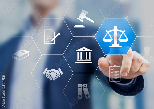 Legal advice service concept with lawyer working for justice, law, business legislation, and paperwork expert consulting, icons with person in background