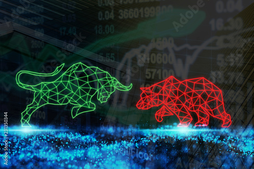 Obraz polygonal bull and bear shape writing by lines and dots over the Stock market chart with information over the Modern business building glass of skyscrapers, trading and finance investment concept - fototapety do salonu