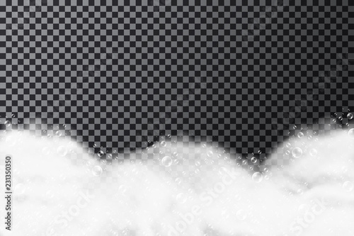 Foam texture with soap bubbles on transparent background Wallpaper Mural