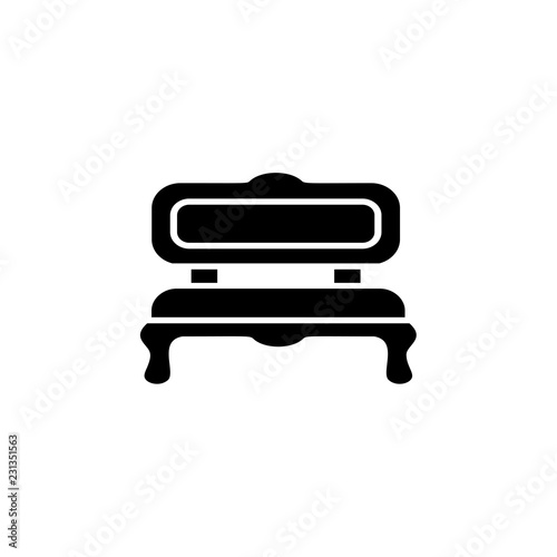 Awesome Black White Vector Illustration Of Cushioned Bench Flat Bralicious Painted Fabric Chair Ideas Braliciousco