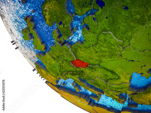 Photo  Czech republic on model of Earth with country borders and blue oceans with waves