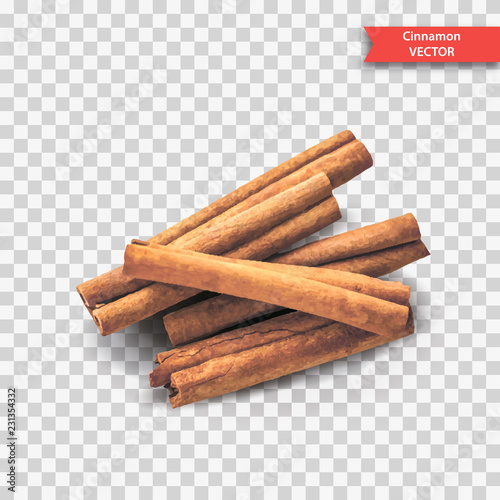 Carta da parati A pile of dry cinnamon bark or sticks on a transparent background