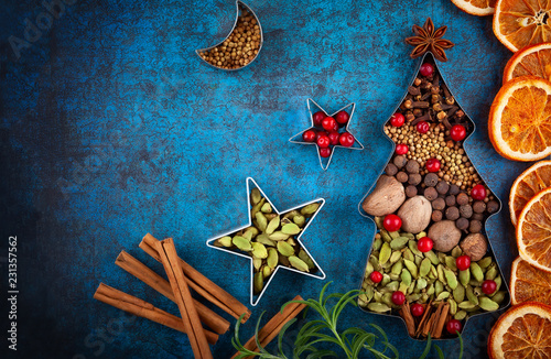 Keuken foto achterwand Aromatische Winter concept with Christmas spices