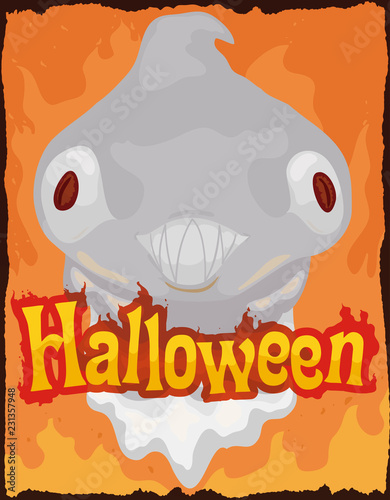 Fotografie, Obraz  Hellish Ghost on Fire for Halloween Celebration, Vector Illustration